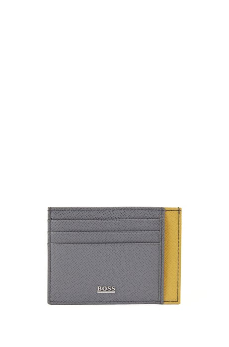 Two-tone card holder in palmellato leather, Charcoal