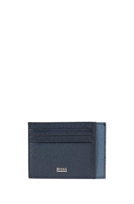 Two-tone card holder in palmellato leather, Dark Blue