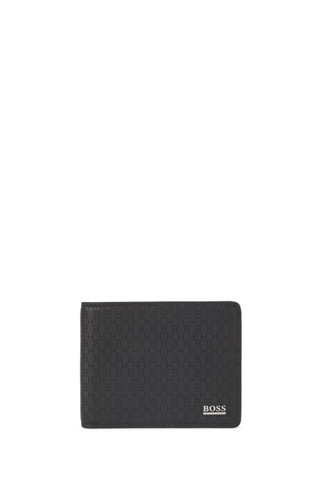 Billfold wallet in Italian leather with lasered monogram detailing, Black