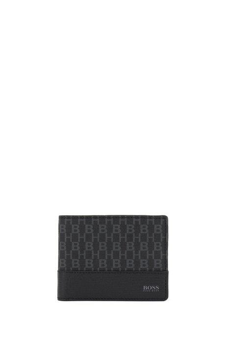 Billfold wallet in monogram-print fabric, Black