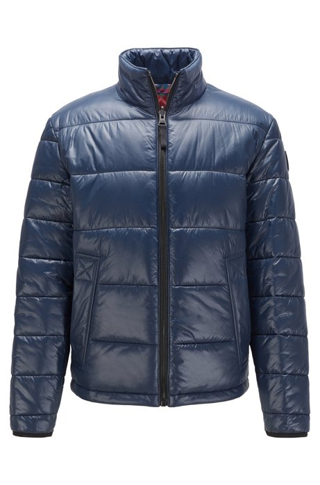 Reversible down jacket with AI-print inner, Dark Blue