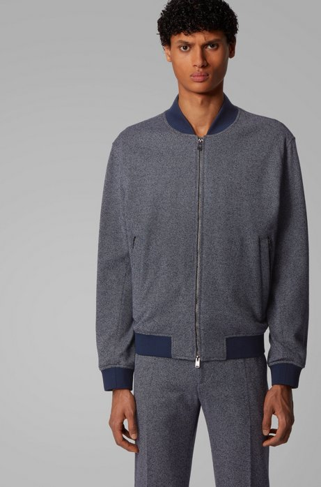 Regular-fit jacket in salt-and-pepper fabric, Dark Blue