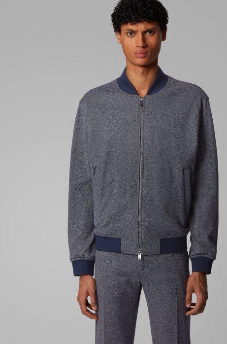 Regular-fit jacket in salt-and-pepper fabric, Dark Blue
