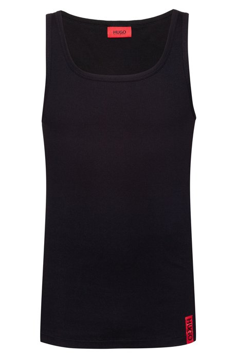 Slim-fit tank top with vertical logo, Black