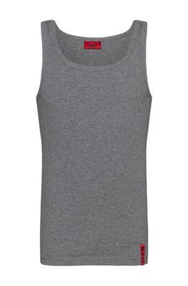 Slim-fit tank top with vertical logo, Dark Grey