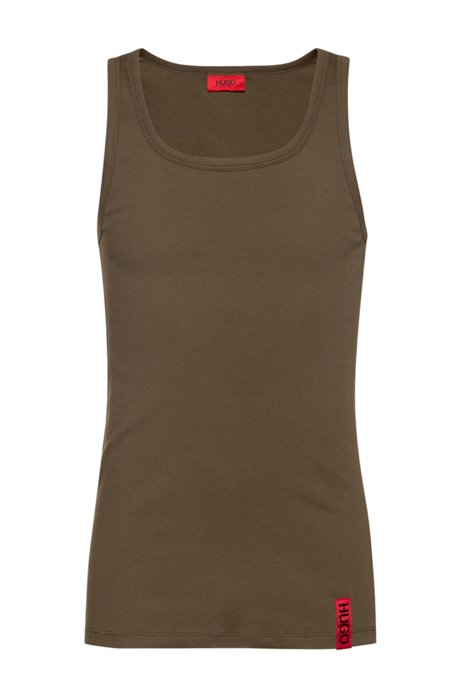 Slim-fit tank top with vertical logo, Dark Green