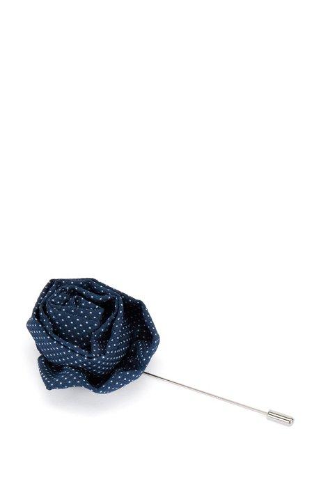 Brass lapel pin with polka-dot woven head, Dark Blue