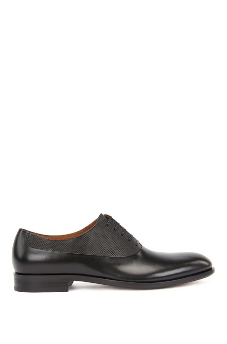 Italian-made leather Oxford shoes with embossed panel, Black
