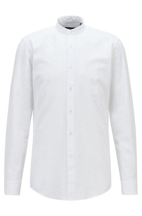 Slim-fit shirt in cotton seersucker with stand collar, White