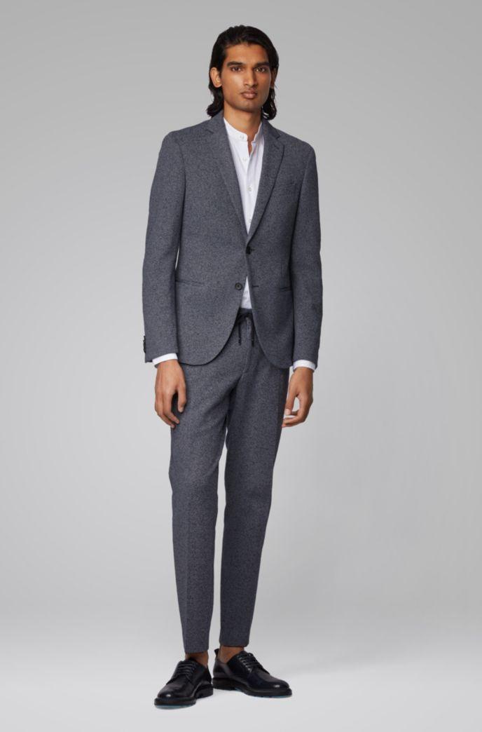 Slim-fit shirt in cotton seersucker with stand collar