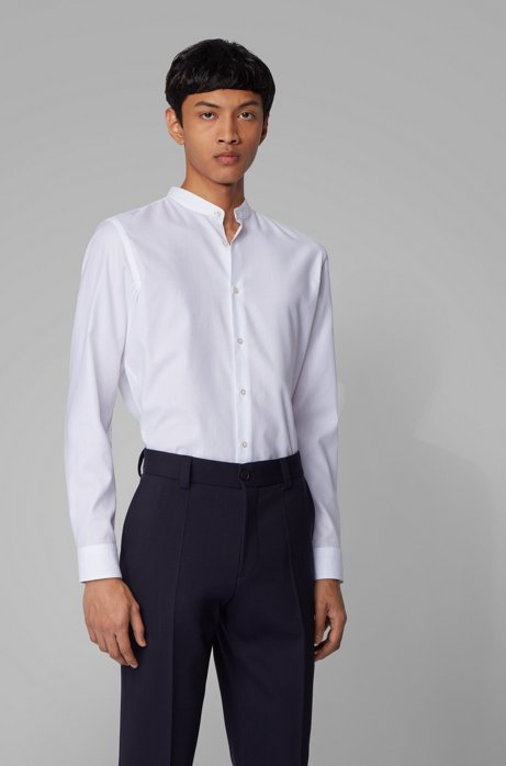 Slim-fit shirt in structured cotton with stand collar, White