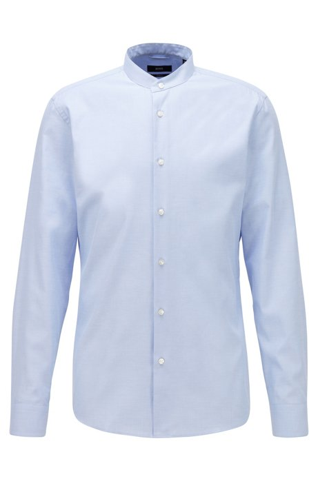 Slim-fit shirt in structured cotton with stand collar, Light Blue