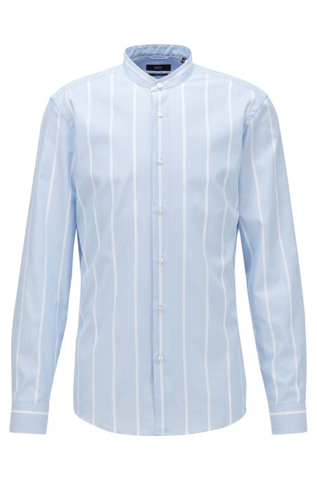 Slim-fit shirt in cotton with structured stripes, Light Blue