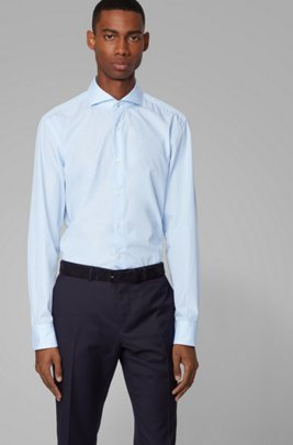 Slim-fit long-sleeved shirt in heathered cotton, Light Blue