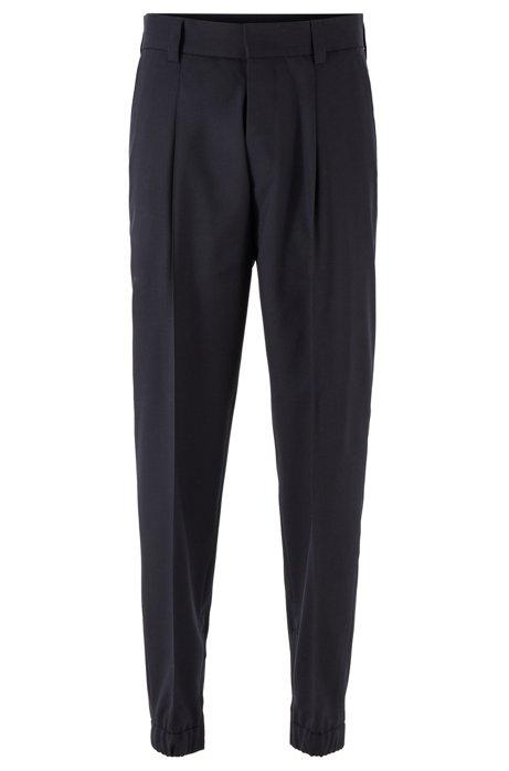 Tapered-fit pants in traceable virgin wool, Dark Blue