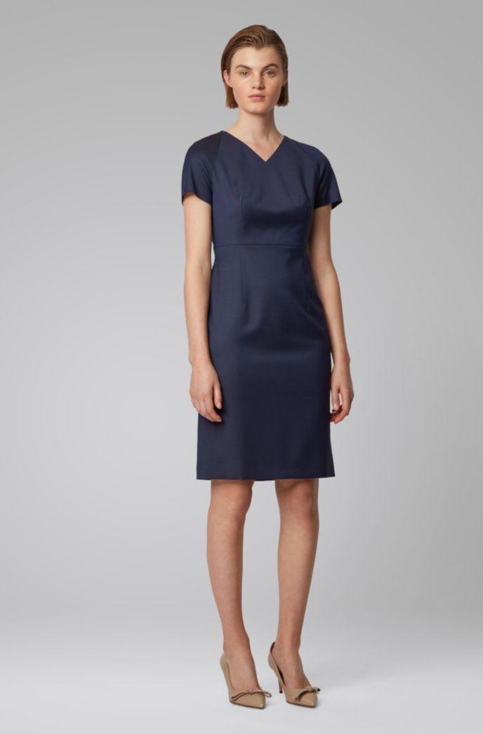 Short-sleeved dress in patterned Italian wool