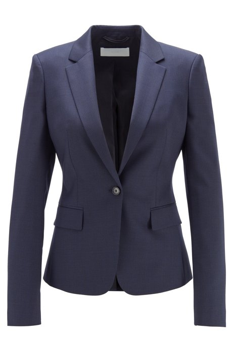 Regular-fit jacket in micro-patterned wool, Patterned