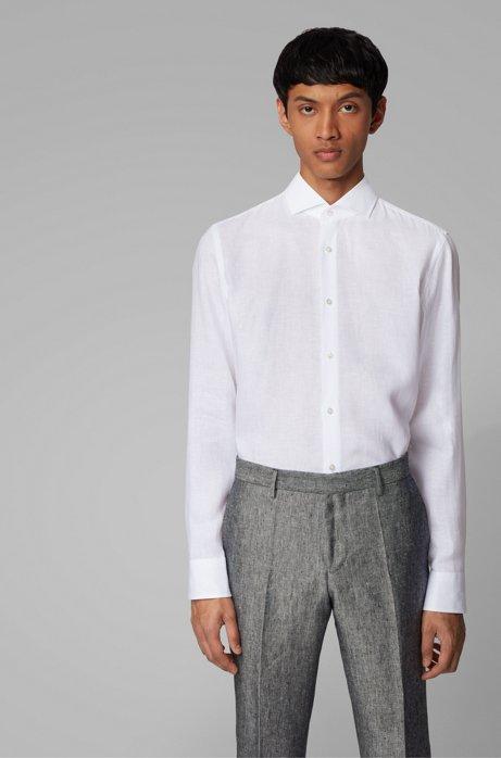 Slim-fit shirt in Italian-made linen, White
