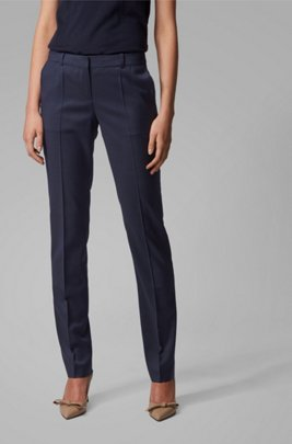 Regular-fit pants in patterned wool with front crease, Patterned