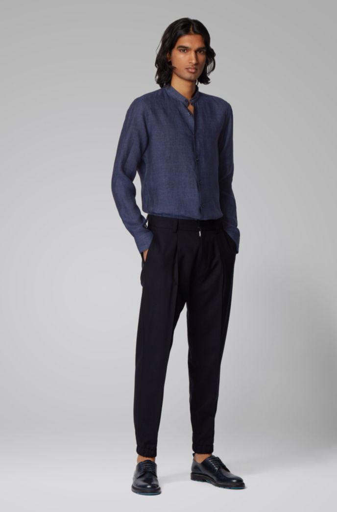 Collarless slim-fit shirt in Italian linen