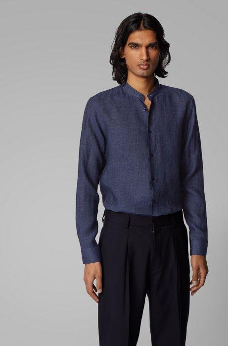 Collarless slim-fit shirt in Italian linen, Dark Blue