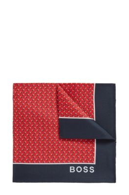 Printed pocket square in pure silk, Red