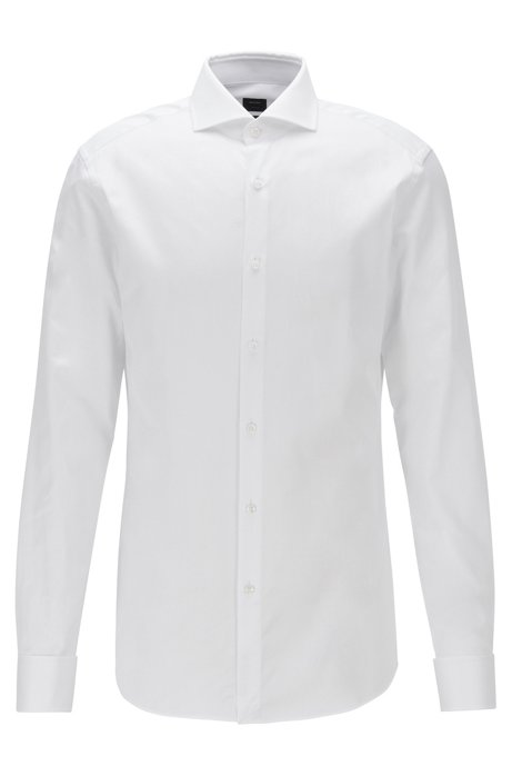 Slim-fit shirt in structured cotton with spread collar, White