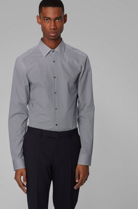 Slim-fit shirt in patterned stretch cotton, Dark Blue