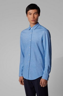 Slim-fit shirt in cotton-linen jersey, Blue
