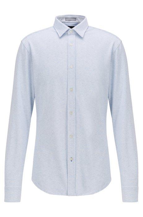 Slim-fit shirt in cotton-linen jersey, Blue