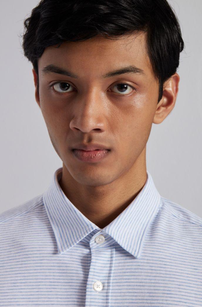Slim-fit shirt in cotton-linen jersey