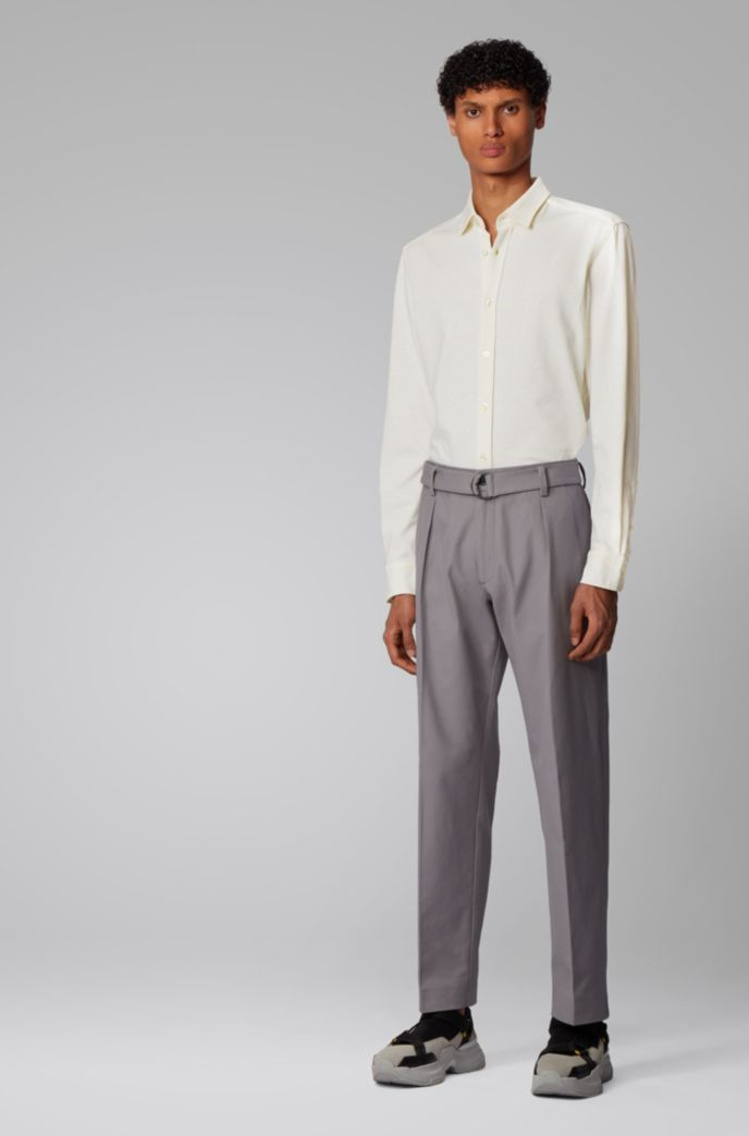 Slim-fit shirt in cotton-linen jersey