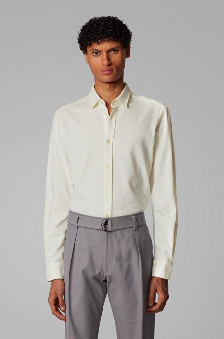 Slim-fit shirt in cotton-linen jersey, Yellow