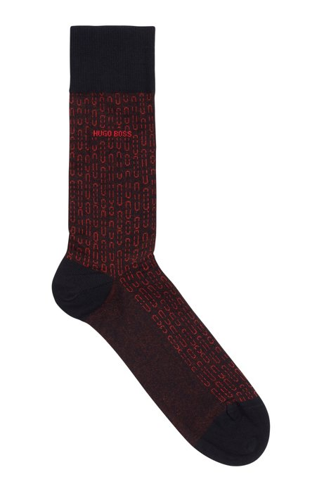 Regular-length stretch-cotton socks with micro pattern, Dark Blue
