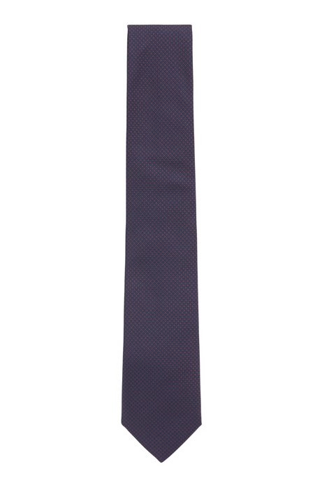 Silk-blend tie with jacquard-woven pattern, Red