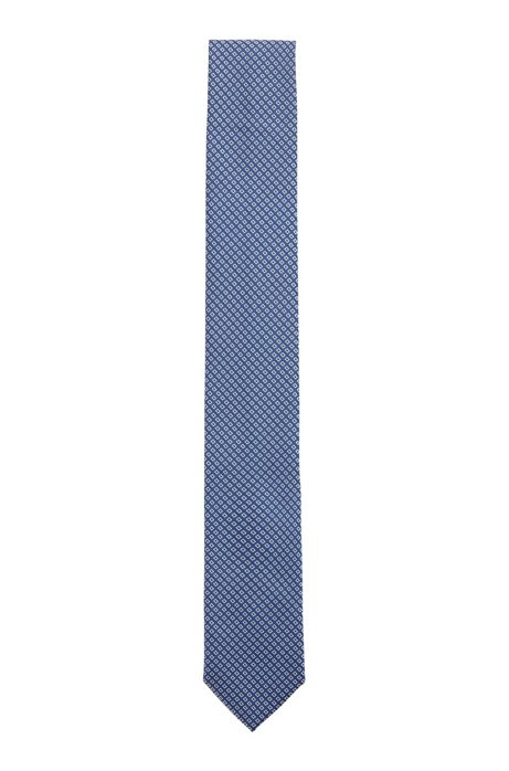 Silk-blend tie with jacquard-woven pattern, Blue