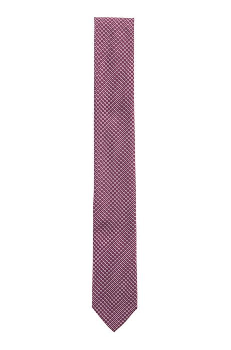 Silk-blend tie with jacquard-woven pattern, Pink