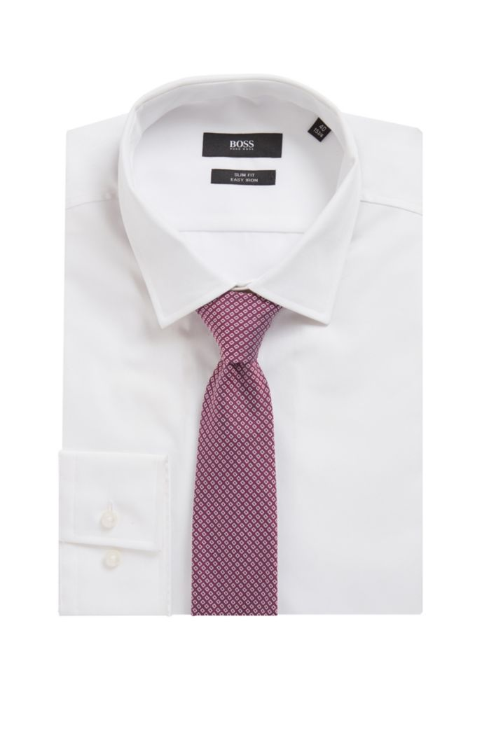 Silk-blend tie with jacquard-woven pattern