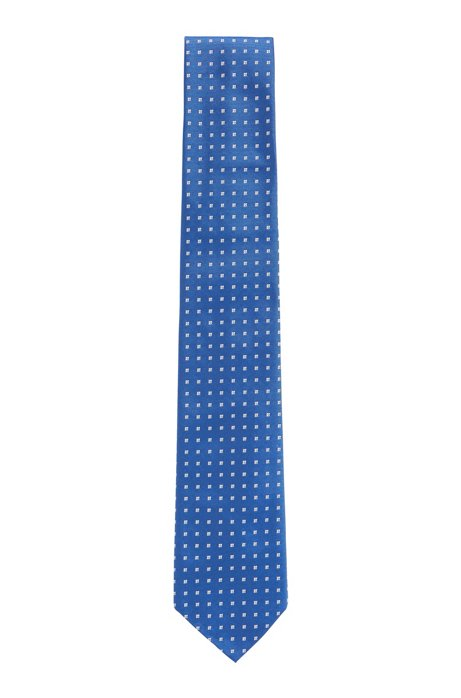 Micro-patterned tie in a silk-blend jacquard, Blue