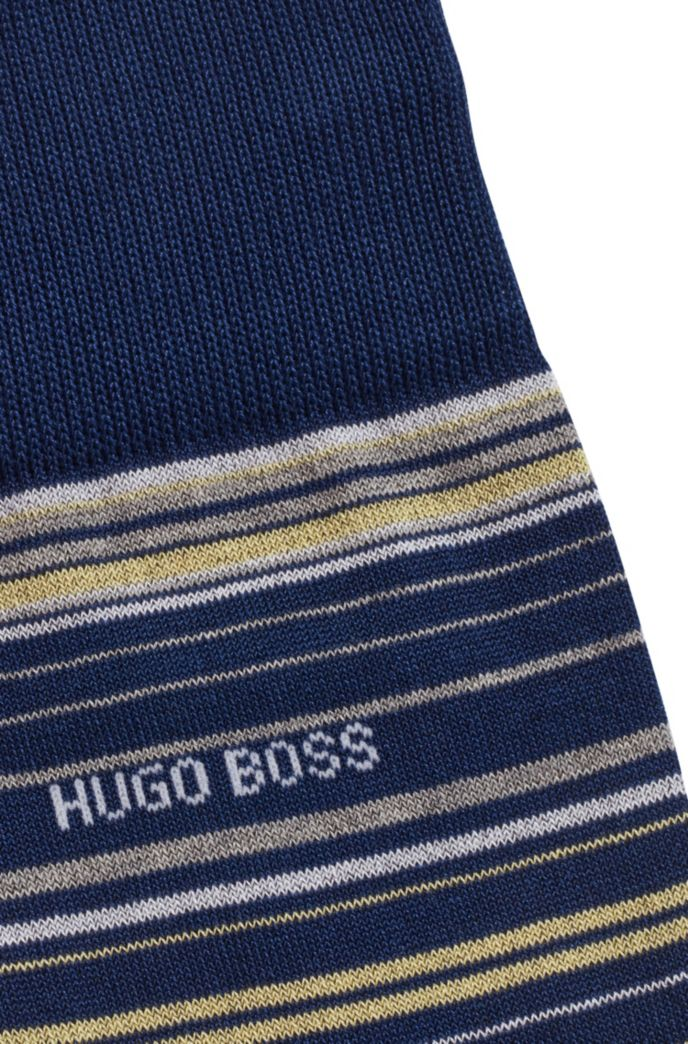 Regular-length striped socks in a mercerized cotton blend