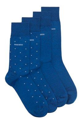 Two-pack of regular-length socks in a cotton blend, Blue
