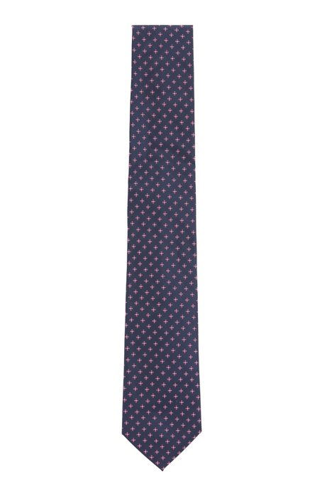 Jacquard tie with all-over micro pattern, Pink