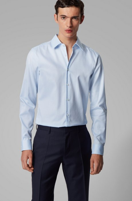 Slim-fit shirt in cotton with non-iron finishing, Light Blue