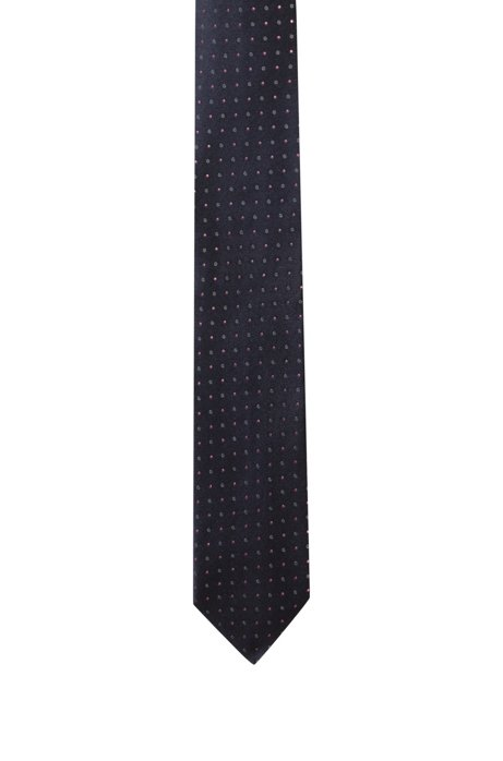 Pure-silk tie with jacquard pattern, Dark Blue