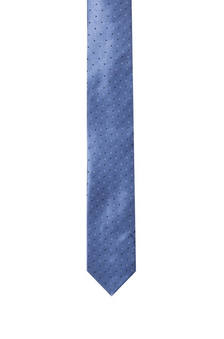 Pure-silk tie with jacquard pattern, Blue