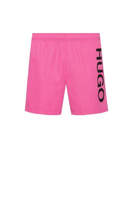 Quick-drying swim shorts with logo print, Pink