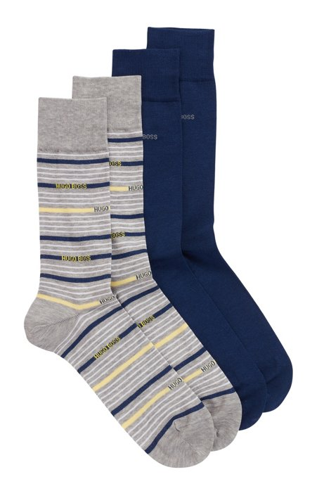 Two-pack of regular-length socks in a cotton blend, Silver