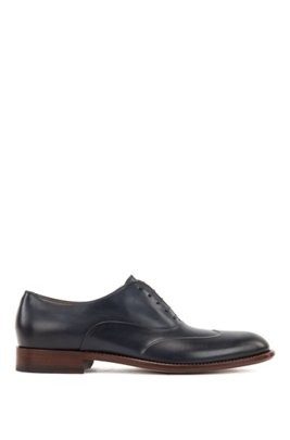Polished leather Oxford shoes with raised fender-tip detail, Dark Blue