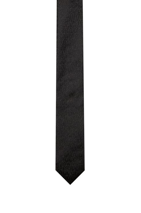 Silk-jacquard tie with 3D-effect pattern, Black