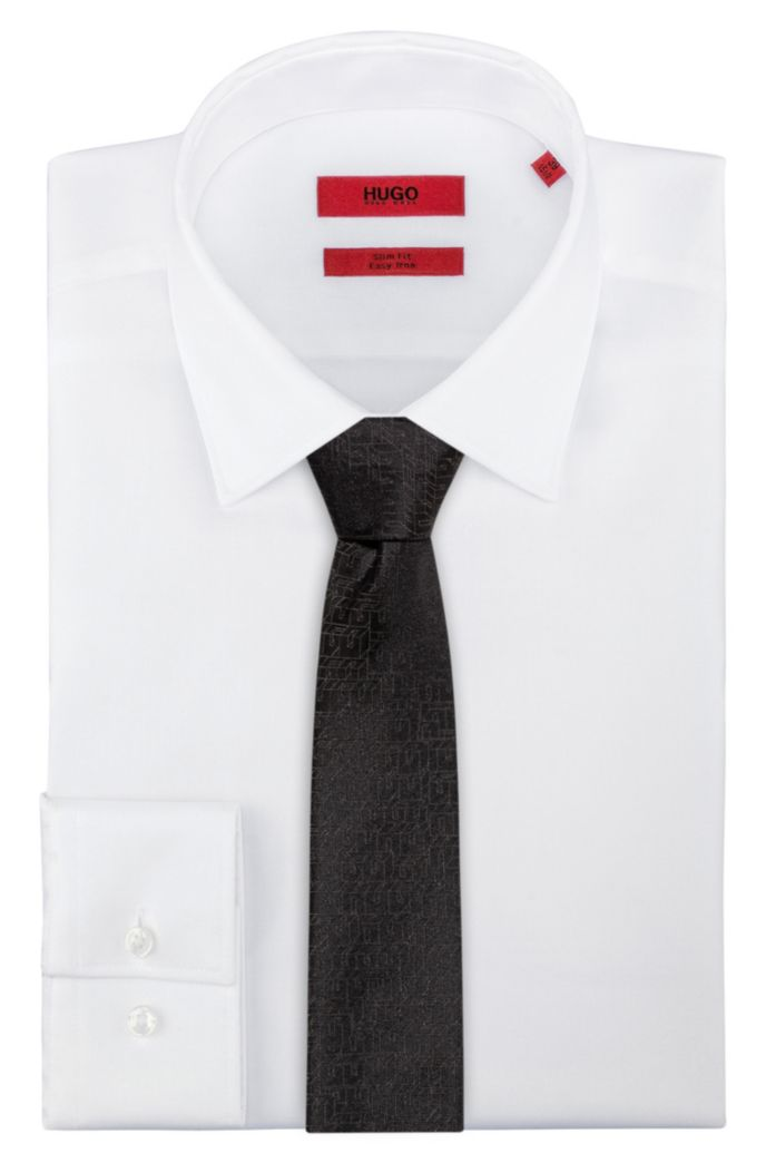 Silk-jacquard tie with 3D-effect pattern